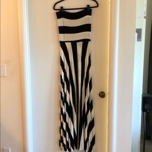 Black and white, strapless maxi dress